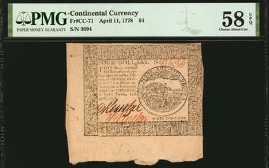 CC-71. Continental Currency. April 11, 1778. $4. PMG Choice About Uncirculated 58 EPQ.