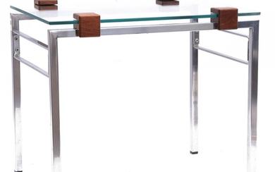 (-), Chrome side table with glass top and...