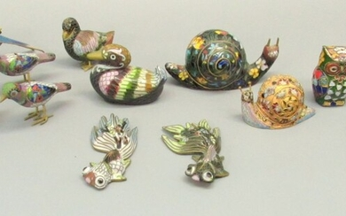 Collection of 16 Cloisonne Animal Figurines
