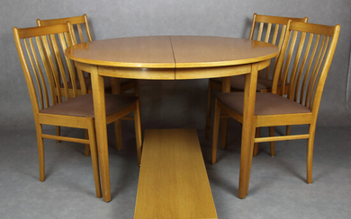 DINING FURNITURE, 5 + 2 parts, lacquered oak, second half of the 20th century.