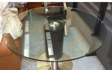 DINING TABLE, contemporary design with a circular glass top,...