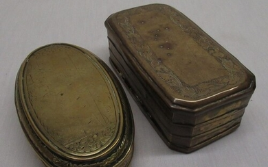 Early C19th Dutch brass oval tobacco box, engraved with rura...