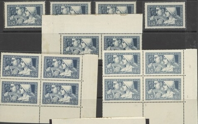 France 1928 Sinking Fund 1f. 50 + 8f. 50 blue, twenty-two examples, including a pair and three...