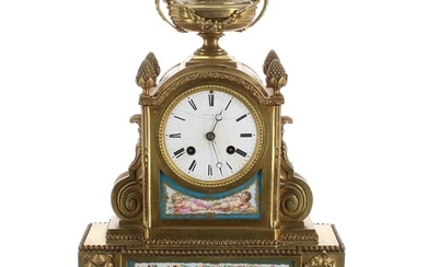 French ormolu and porcelain mounted two train mantel clock, ...
