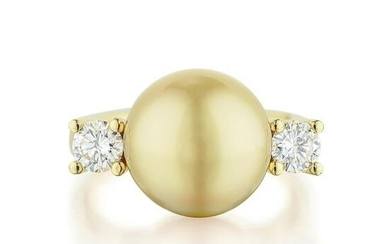 Golden Cultured Pearl and Diamond Ring