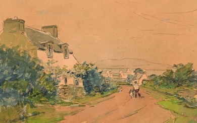 """Henri Maurice CAHOURS (1889-1974) """"The road to Poullan, Douarnenez bay"""" watercolor sbd 20x28.5"""