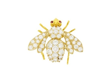 Herbert Rosenthal Two-Color Gold and Diamond Bee Pin