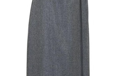 Hermes Grey Wrap Skirt with Matching Leather Trim