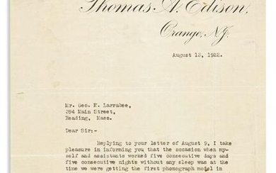 (INVENTORS.) EDISON, THOMAS A. Typed Letter Signed, to