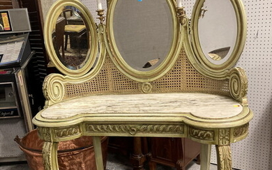 LOUIS XV-XVI STYLE PAINTED AND GILT KIDNEY-SHAPE DRESSING TABLE. 19th...