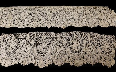 Late 19th Century Honiton Guipure Lace Flounce, 96cm by 25cm;...