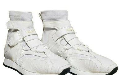 New Versace STRAP LACED HIGH-TOP SNEAKERS in WHITE 43.5