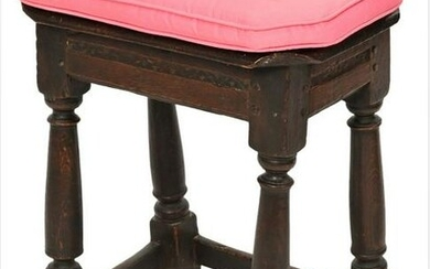 Oak Jacobean Joint Stool now fitted with custom cushion