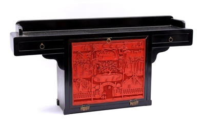 (-), Oriental piece of furniture with 2 drawers...