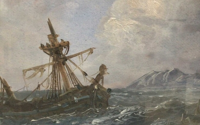 Pair of late 19th century oils on board - shipping and a shipwreck off the coast, 23cm x 45cm, in glazed frames
