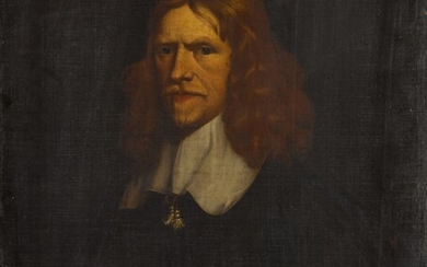 Portrait of a gentleman, half length, in black with a white collar and cuff