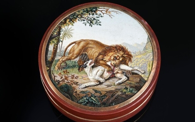 ROUND RED JASPE BOX, ROME, CIRCA 1810, ATTRIBUTED TO FILIPPO PUGLIESCHI.Lid decorated with a micro-mosaic medallion depicting a lion and a dog fighting. This decoration is a repetition of the painting A lion devouring a dog by Johann Wenzel Peter...