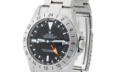 Rolex. Valuable and Fine Explorer II Automatic Dual Time Wristwatch in Steel, Reference 1655, With Addictional Links