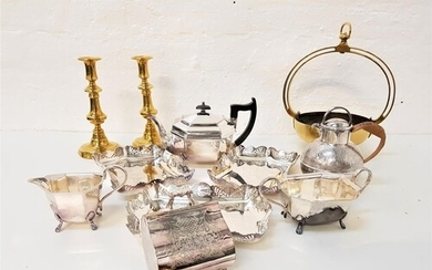 SELECTION OF SILVER PLATED WARES including a cased set of fr...