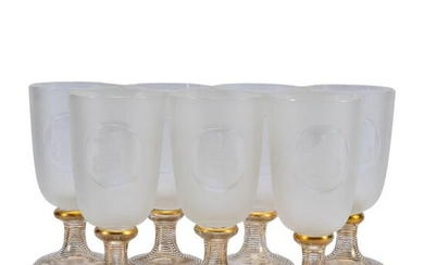 SET 7, ANGLO-IRISH FROSTED ARMORIAL WATER GLASSES