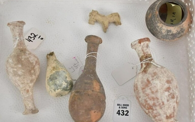 Six Ancient Mediterranean Artifact Vessels of Pottery &