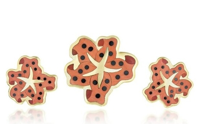Tiffany & Co. Coral Inlay Starfish Brooch and Earrings