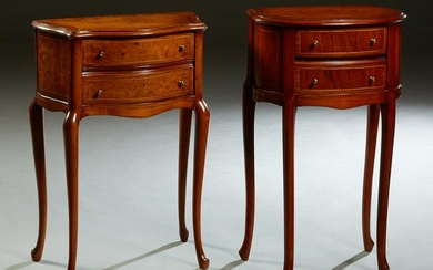 Two Inlaid Mahogany Louis XV Style Bowfront Night
