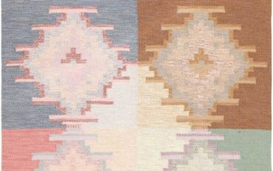 VINTAGE SWEDISH FLATWOVEN RUG. 6 ft 8 in x 4 ft 5 in (2.03 m x 1.35 m).