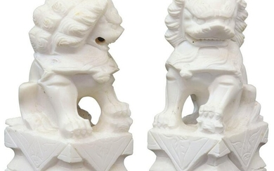 (2) CHINESE WHITE MARBLE FOO LIONS ON PEDESTALS