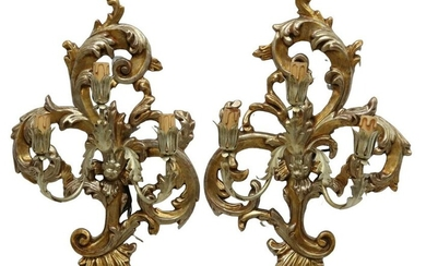 (2) ITALIAN GILTWOOD THREE-LIGHT WALL SCONCES