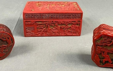 3 boxes. Probably red lacquer China antique.