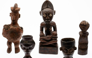 5 African Carved Wood Figures