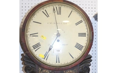 A 19th century rosewood and brass inlaid drop dial wall cloc...