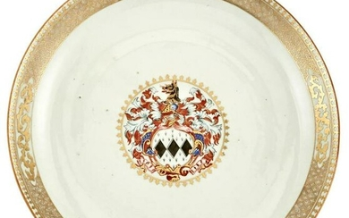A Chinese Armorial Porcelain Charger Circa 1745 Of