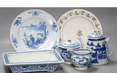 A Chinese blue and white bulb dish and a three piece teaset,...