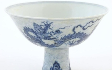 A Chinese blue and white dragon stem bowl with a raised