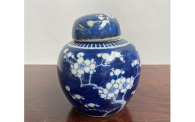A Chinese blue and white preserve pot with lid, designed wit...