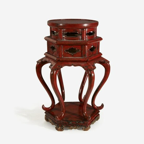 A Chinese or Japanese hexagonal incense stand