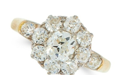 A DIAMOND CLUSTER DRESS RING in 18ct yellow gold, set
