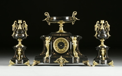 A FRENCH NEO-GREC ORMOLU MOUNTED BLACK MARBLE MANTLE