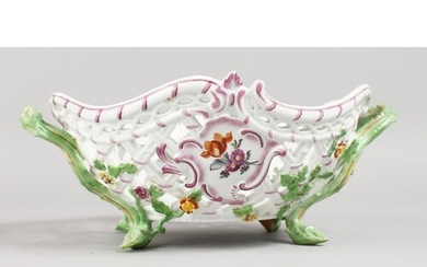 A GOOD MEISSEN OVAL PIERCED TWO-HANDLED BASKET, painted and ...