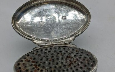 A George III silver oval nutmeg grater, initialled