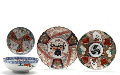 A Group of Antique Japanese Imari Bowls and Plates