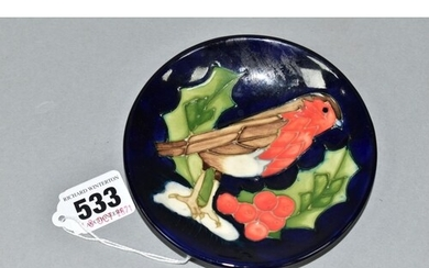A MOORCROFT POTTERY PIN DISH DECORATED IN THE ROBIN AND HOLL...