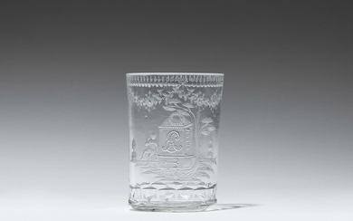 """A Neoclassical commemorative glass beaker with the initials """"EA"""""""