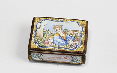 A PAINTED ENAMEL 'EUROPEAN FIGURES' SNUFF BOX AND COVER