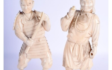 A PAIR OF 19TH CENTURY JAPANESE MEIJI PERIOD CARVED IVORY OK...