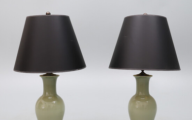A PAIR OF CHINESE CELADON GLAZED BALUSTER VASE TABLE LAMPS, 20TH CENTURY.