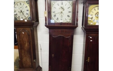 A Victorian mahogany cased grandfather clock the painted dia...