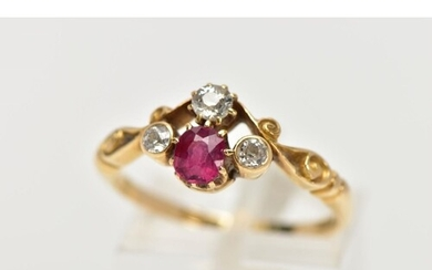 A YELLOW METAL RUBY AND DIAMOND DRESS RING, designed with a ...